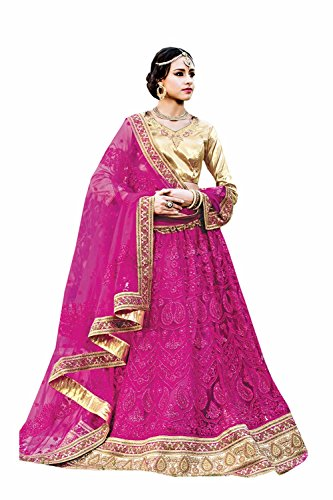 IWS Womens Pink Striking Lehenga Choli With Crystals Stones Lace Work 79976