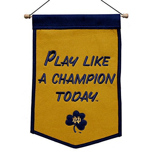 Notre Dame Fighting Irish Banner 12x18 Wool Mini Play Like A Champion Today
