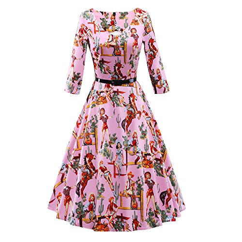 LUOUSE-Vintage-1950s-Floral-Spring-Garden-Party-Picnic-Dress