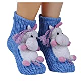 Christmas Non-slip Knit Sweater Warm Household Floor Socks for Women Warm Winter Indoor Floor Slipper Socks 3D Cartoon Animal House Socks for Women (Unicorn)