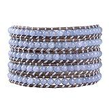 KELITCH Crystal on Gray Leather Charm 5 Wrap Bracelet Handmade New Top Jewelry57