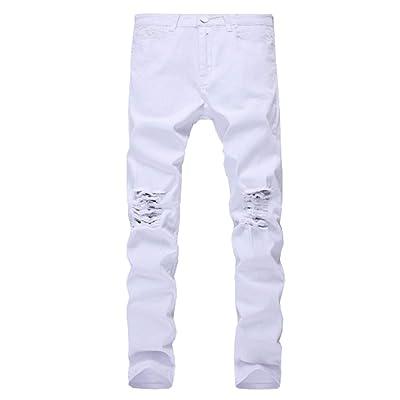 78e701eb7510b Jean Slim pour Homme Coupe Slim Stretch Noir Déchiré Jean Skinny Classique  Pantalon Loisirs Jean Fashion Garçons (Color : Blanc, Size : 42)