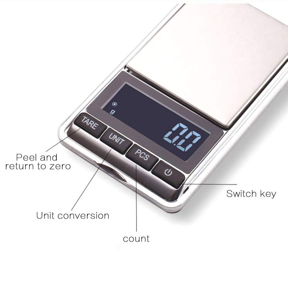 Elektronische Gramm Waage genaue Gewichtung Tool Silver 0.01~100g Taschenwaage Lebensmittelwaage Feinwaage Whiie891203 Tragbare LCD-Anzeige Mini Digitalwaage Schmuck Tee Mini Waage