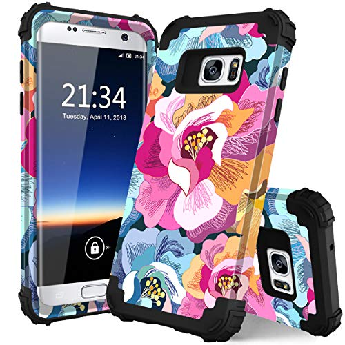 for Samsung Galaxy S7 case,PIXIU Unique Hybrid Heavy Duty Shockproof Full Body Protective Cover Without Built-in Screen Protector Cases for Galaxy s7 2016 Release Flower