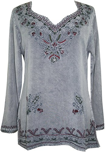 720 B Medieval Renaissance Embroidered Top Blouse (M, Silver Gray C)