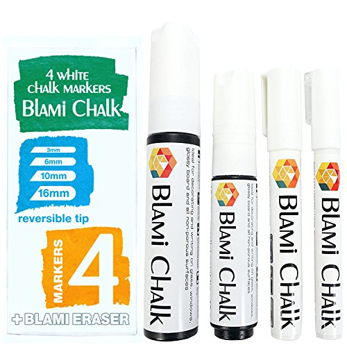 Blami Arts 4 White Chalk Markers 16mm and 10mm JUMBO Tips and 6mm and 3mm Reversible FINE Tips - Liquid Ink Paint Pens for Non-Porous Menu Chalkboard and Bistro Glass Windows - Eraser Sponge included (Chalk Menu)