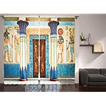 Ambesonne Egyptian Decor Collection, Ancient Egyptian Writing on Stone Ancient Egypt Indigenous Civilization Picture, Living Room Bedroom Curtain 2 Panels Set, 108 X 84 Inches, Beige Navy Red