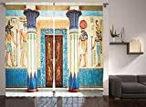Ambesonne Egyptian Decor Collection, Ancient Egyptian Writing on Stone Ancient Egypt Indigenous Civilization Picture, Living Room Bedroom Curtain 2 Panels Set, 108 X 90 Inches, Beige Navy Red For Sale