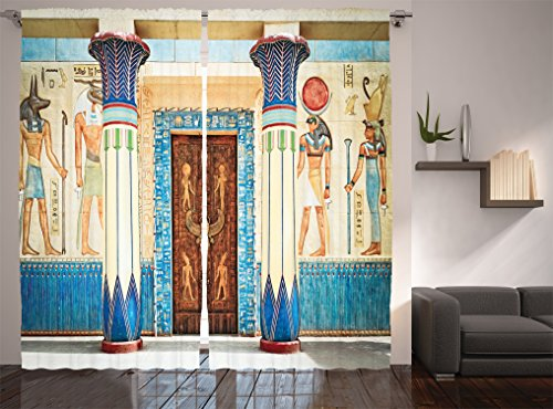 Egyptian Curtain - Ambesonne Egyptian Decor Collection, Ancient Egyptian Writing on Stone Ancient Egypt Indigenous Civilization Picture, Living Room Bedroom Curtain 2 Panels Set, 108 X 84 Inches, Beige Navy Red