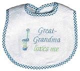 Raindrops Great-Grandma Loves Me Embroidered Bib, Blue