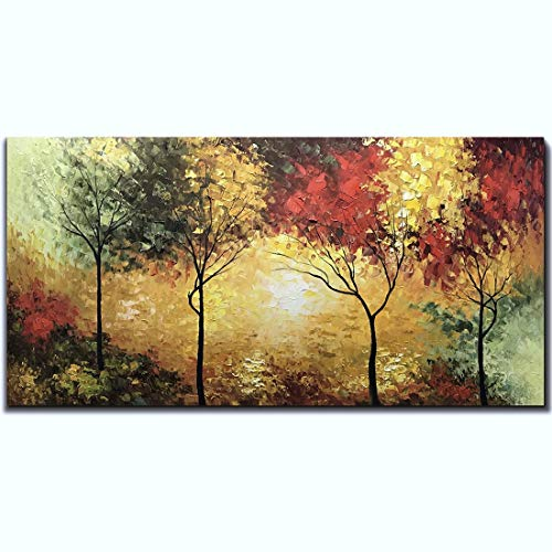 Tiancheng Art,24 X 48 Inch Abstract Tree Art Frame Oil Painting Propylene Three-Dimensional Oil Painting Hand-Painted Wall Art Living Room Interior Decorative Painting Ready to ()