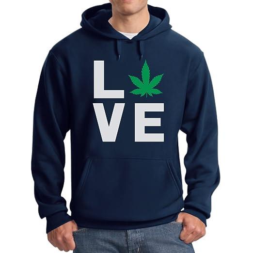 Love Weed - Cannabis Ganja Marijuana Smokers Gift for Weed Day Hoodie X-Large Blue