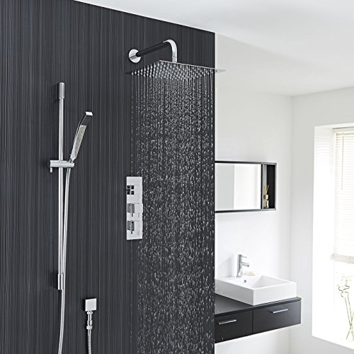 Hudson Reed - Kubix Thermostatic Shower System With Twin Valve, 12