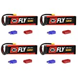 Venom Fly 50C 6S 5000mAh 22.2V LiPo Battery with  UNI 2.0 Plug (XT60/Deans/EC3) x4 Packs Compare to E-flite EFLB40006S30