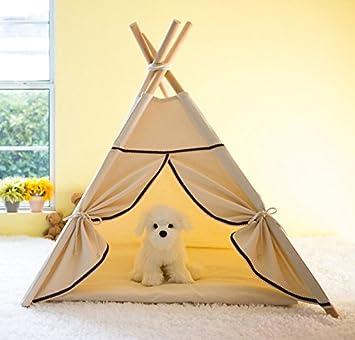 Lily&her friends – Teepee para mascotas hecho de lona de madera y algodón, lavable,