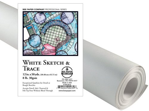 18-Inch by 50-Yards Bee Paper White Sketch and Trace Roll