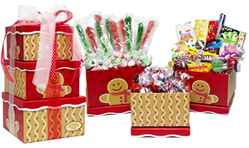 Gingerbread Man Holiday Nostalgic Candy Gift Tower