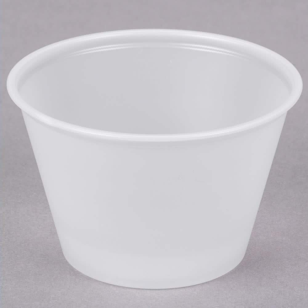 Dart P400N 4 oz Translucent PS Portion Container (Case of 2500) by Solo Foodservice