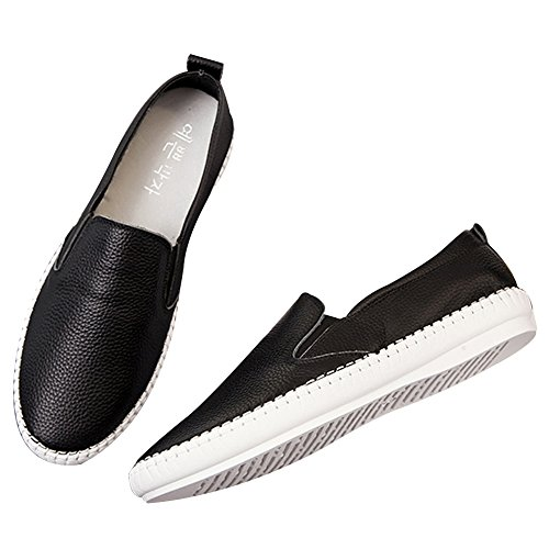 Chicas Auténtico Mocasín Cuero Trabajo Pisos Mujer Calidad Enfermera de Hospital Negro1 Zapatos Shenn Alta 6Aqd6I