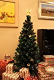 6 FT ARTIFICIAL GREEN PRE-LIT MULTI COLOR LED FIBER OPTIC CHRISTMAS TREE WITH ANGEL TOPPER
