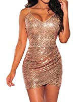 Womens Sexy Rose Gold Sequin Ruched Party Club Mini Dress