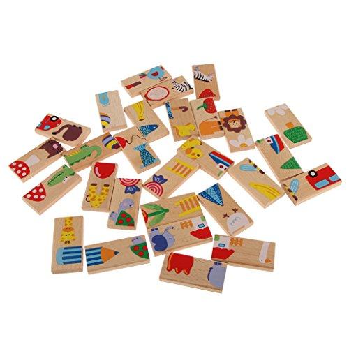 Dovewill 28個セット カラフル 動物 ドミノセット 木製 パズル 知育玩具 楽しいおもちゃ