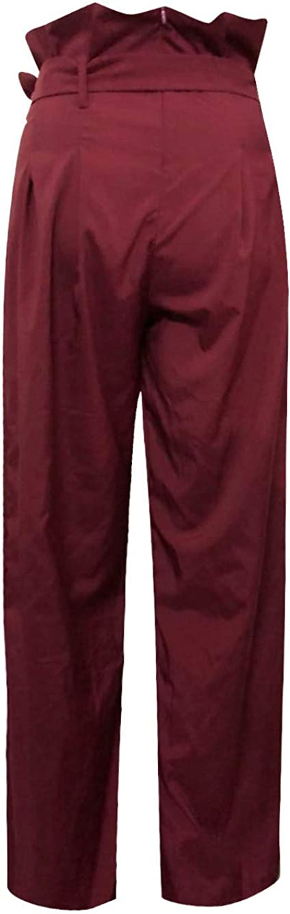 JOFOW Womens Wide Leg Pants Solid Pleated Ruffle High Waist Loose Long Trousers