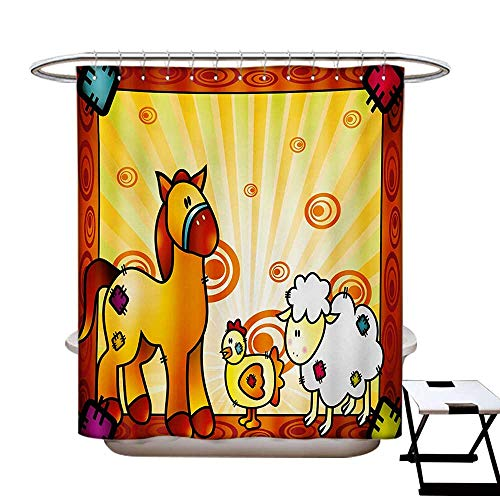 Kids Shower Curtains Fabric Animal Friend Chicken Sheep and Horse with Patch Motif Zoo Joyful Cartoon Print Bathroom Decor Set with Hooks W48 x L84 Red Orange Yellow -