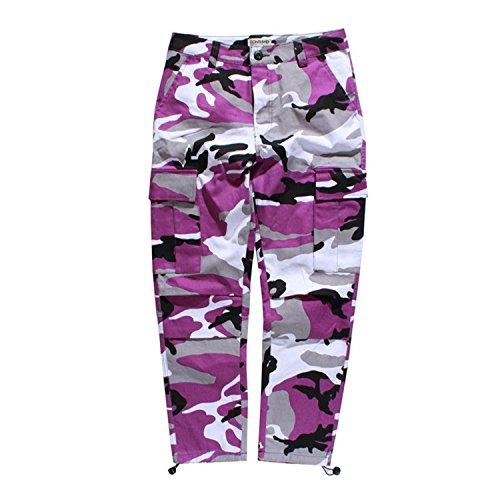 (Mistere Stylish Camo Cargo Pants Mens Baggy Tactical Trouser Hip Hop Casual Cotton Multi Pockets Pants Streetwear PurpleSmall)
