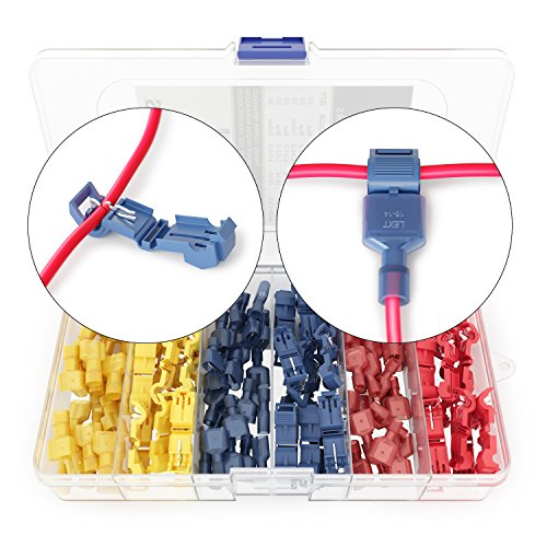 120 PCS Wirefy T Tap Electrical Connectors – Quick Wire Splice Taps and Insulated Male Quick Disconnect Terminals ()