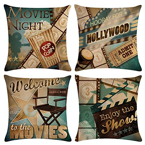 ULOVE LOVE YOURSELF Movie Theater Throw Pillow Covers Cinema Poster Design Cushion Cover with Popcorn,Filmstrip,Clapboard Pattern Home Decorative Pillowcases 18 X 18 Inch,4 Pack (Movie Night) (Decorative Pillows Theater)