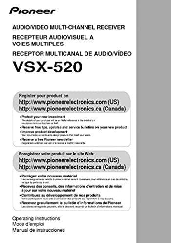 pioneer vsx 520 receiver owners instruction manual amazon com books rh amazon com Pioneer Clip Art Pro-Form 955R Owner's Manual