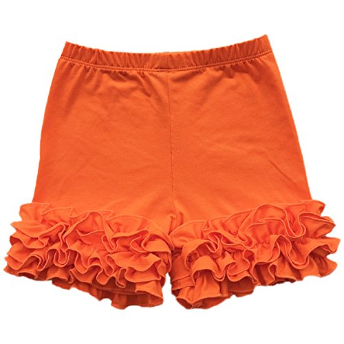 (Baby Kid Girls Summer Icing Ruffle Shorts Pants Boutique Cotton Comfortable Bottoms Casual Party Activewear Playwear Orange 6)