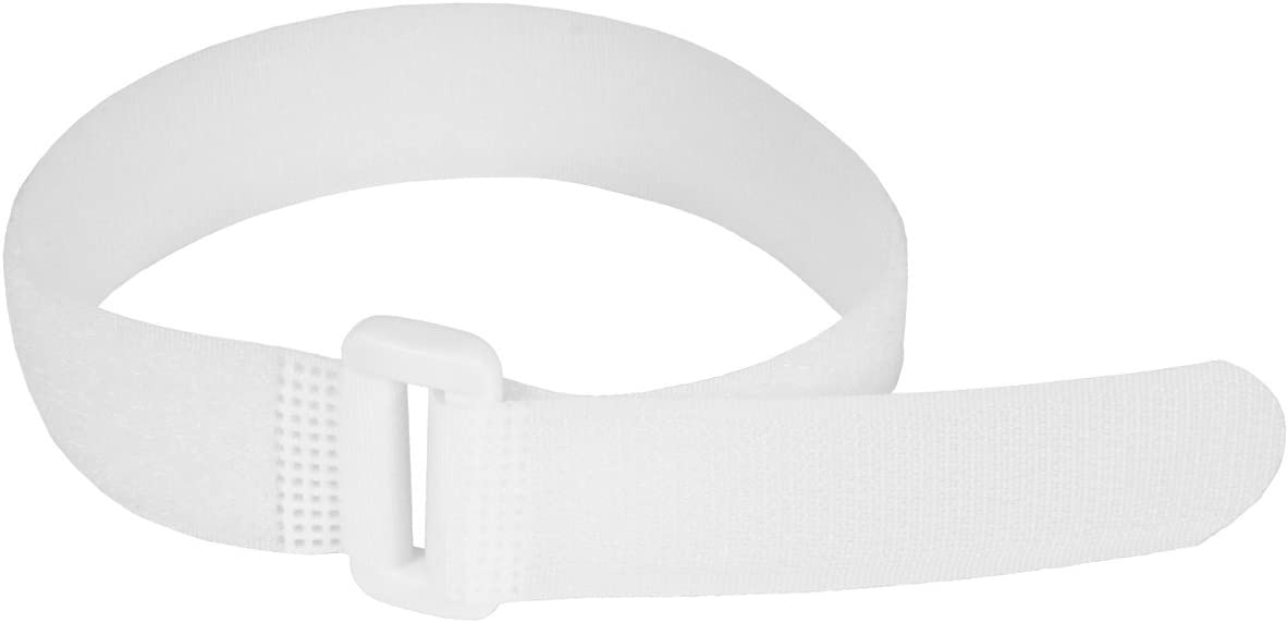 """Reusable Cinch Straps 1"""" x 30"""" - 10 Pack, Multipurpose Quality Hook and Loop Securing Straps (White) - Plus 2 Free Bonus Reusable Cable Ties"""