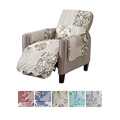 Great Bay Home Patchwork Scalloped Stain Resistant Printed Furniture Protector Brand. (Recliner, Taupe)