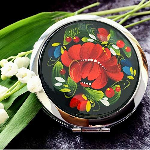 Purse Style Compact Mirror - Ukrainian Compact Mirror for Purse Travel Pocket Souvenir Floral Design Handmade Petrykivka Kids Teens Girls Women