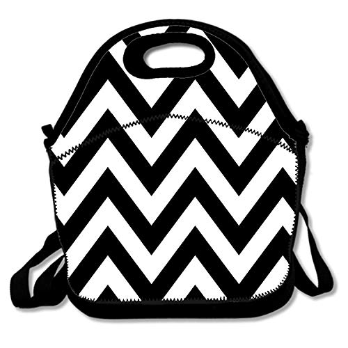 Chevron Zebra - Insulated Neoprene Lunch Bag - Removable Shoulder Strap - Reusable Thermal Thick Lunch Tote/Lunch Box/Cooler Bag For Women,Teens,Girls,Kids,Baby,Adults, Black White Zebra Chevron