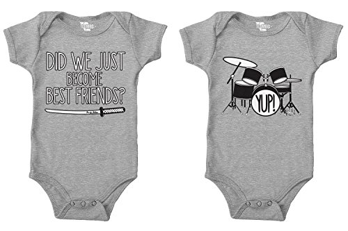 Tcombo Did We Just Become Best Friends?/Yup! Bodysuit 2 Pack (Light Gray/Light Gray, 6 Months/6 Months) - Best Friend Infant Bodysuit