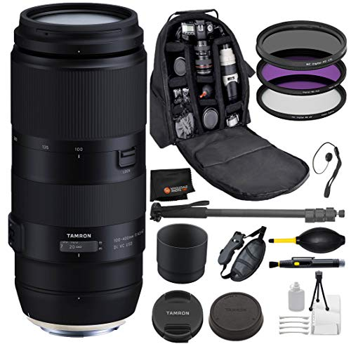 Tamron 100-400mm f/4.5-6.3 Di VC USD Lens for Nikon F Digital Cameras with Bundle Package Deal – 3 Piece Filter Kit + Backpack + Monopod + Camera Grip + More