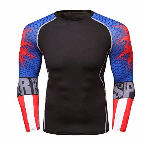 - Fanii Quare Men's Soft Slim Long Sleeve Dry-Fit Compression Gym Trainning Shirt Blue Boom L