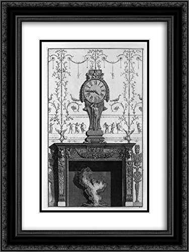 Giovanni Battista Piranesi 2x Matted 20x24 Black Ornate Framed Art Print 'Fireplace In a garland frieze between two eagles above the plane of a clock' by ArtDirect