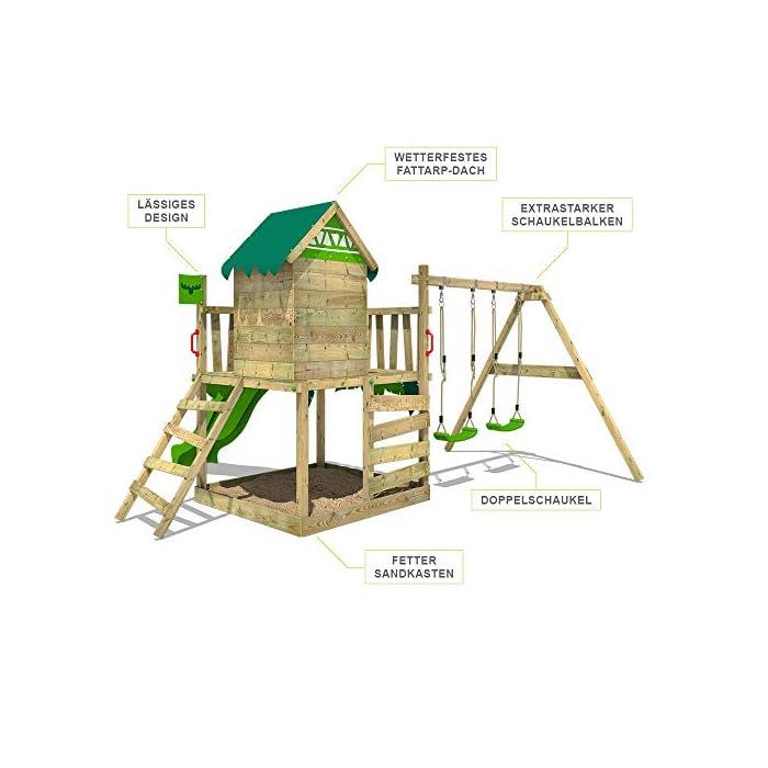 51YwXFS8ikL Parque infantil con casita infantil en diseño tropical - Área de juegos da exterior Madera maciza impregnada a presión - Poste de columpio 9x9 cm - Calidad y seguridad aprobada Instrucciones de montaje detalladas - Varias opciones de montaje - Made in Germany