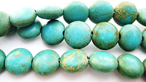 3 Pack Magnesite Teal Green Dyed-Stabilized Gemstone Beads 7-8mm Puffed Flat Round Jewelry (Beads Puffed Coin)