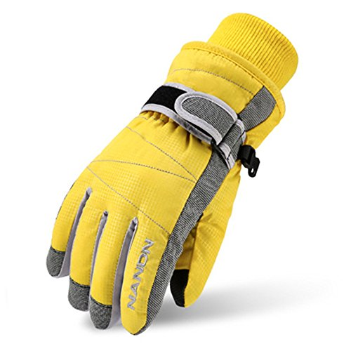 Magarrow Kids Winter Warm Windproof Outdoor Ski Gloves Cycling Gloves For Boys Girls and Adults (Yellow, Small (Fit kids 6-7 years old))