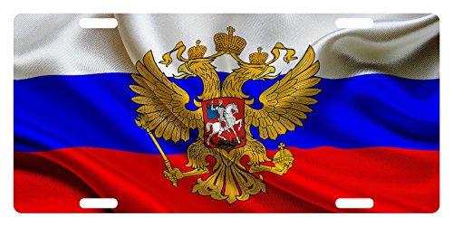 RUSSIA Flag Custom License Plate Russian Emblem Coat Wave Version #6 (Custom Car Flag)