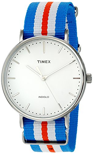 Timex Unisex TW2P91100 Fairfield 41 Orange/Blue/White Nylon Slip-Thru Strap Watch from Timex