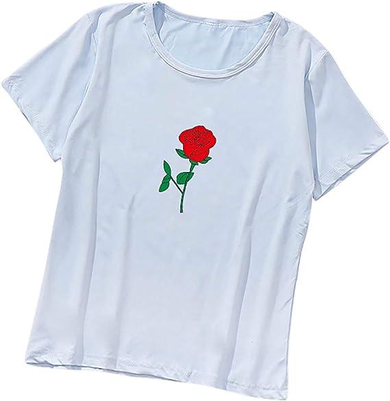 t Shirt Mujer Lindo Rosa Camisetas de Manga Corta tee Shirt Camiseta Delgada para Mujeres Cuello Redondo Blusa Primavera Verano: Amazon.es: Ropa y accesorios