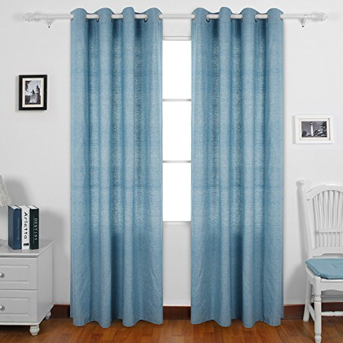 Deconovo Curtain Pair Solid Recycle Cotton Curtains Grommet Window Curtains 95 Room Curtains 52 W x 95 L Cyan Blue Pairs (96 Inch Light Blue Curtains compare prices)