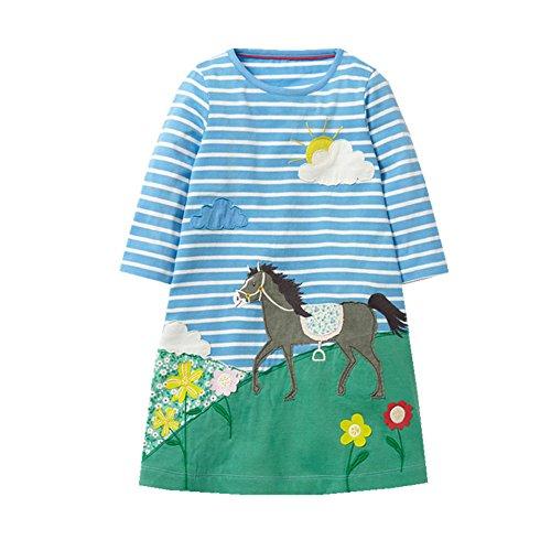 VIKITA toddler girl Animal Stripe cotton long sleeve dress baby girls winter casual dresses 2-8 Years (5T, JM7532BLUE)