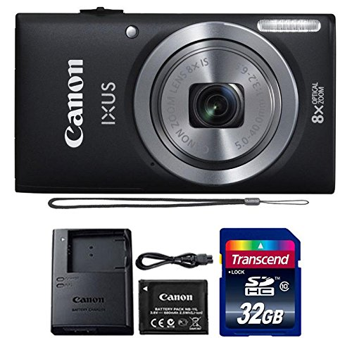 Canon IXUS 185 / ELPH 180 20MP Black Compact Digital Camera with 32GB SDHC Memory Card